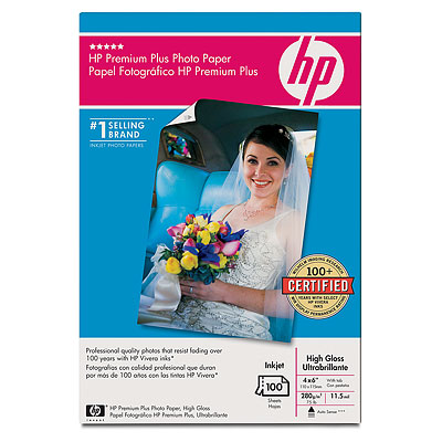 Premium Plus Photo Paper (Soft Gloss Satin Matte) - 10.2cm (4in) x 15.2cm (6in) finished size - 10.2cm (4in) x 16.5cm (6.5in) - 100 sheets