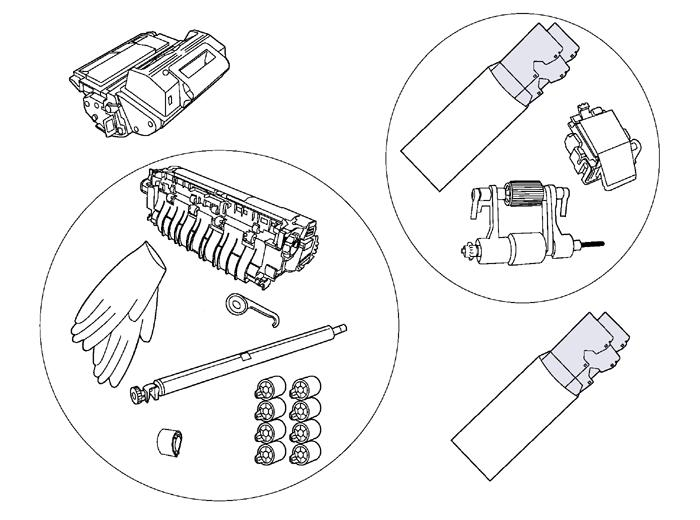 ADF maintenance kit - Includes the ADF paper pick-up roller assembly separation pad assembly and three clear mylar replacement strips