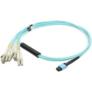 computer 15M LOMM OM3 MPO to 8XLC FANOUT Aqua Patch Cable - Fiber Optic for Network Device - 15m - 1 x MPO Female Network - 8 x LC Male Network - Aqua