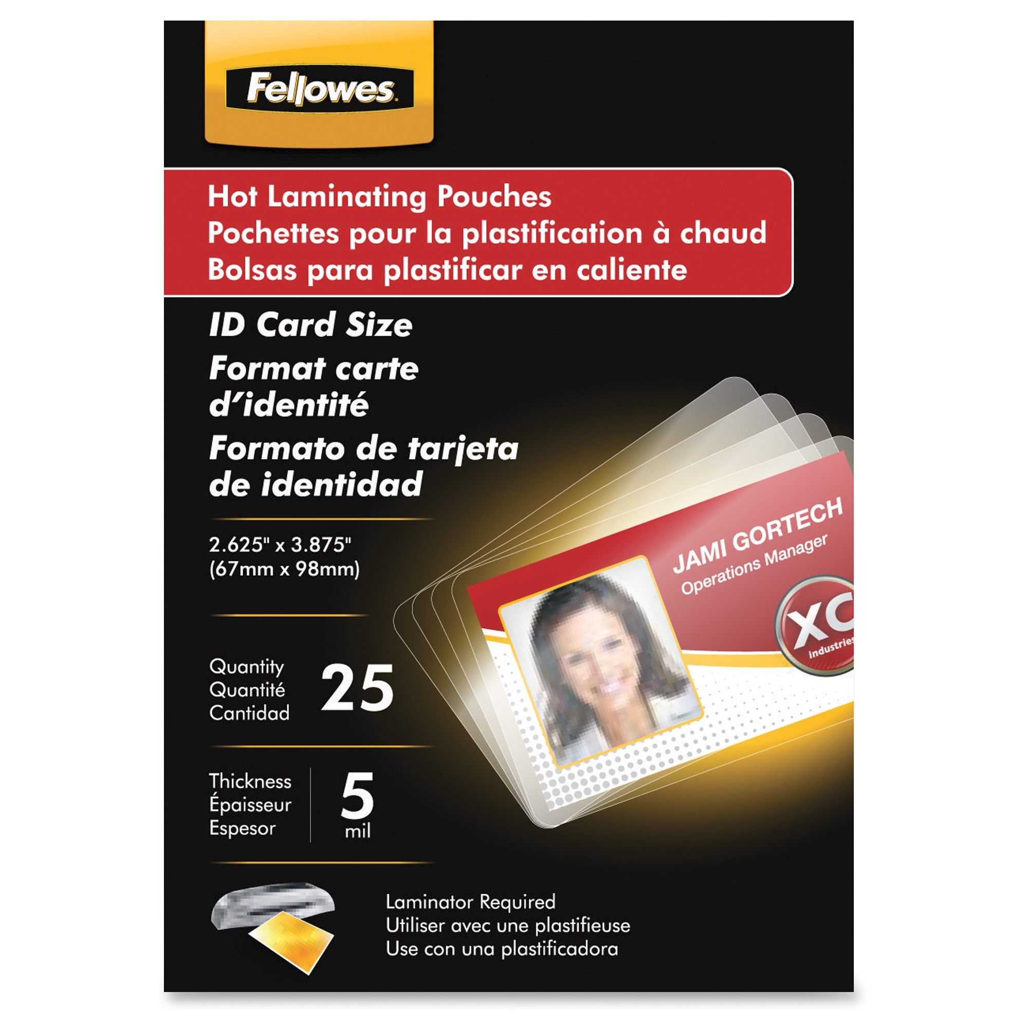 Glossy Pouches - ID Tag not punched 5 mil 100 pack - 2.63 inch Width x 3.88 inch Length x 5 mil Thickness - Type G - Glossy - Pre-trimmed Durable Unpunched - 100 / Pack - Clear