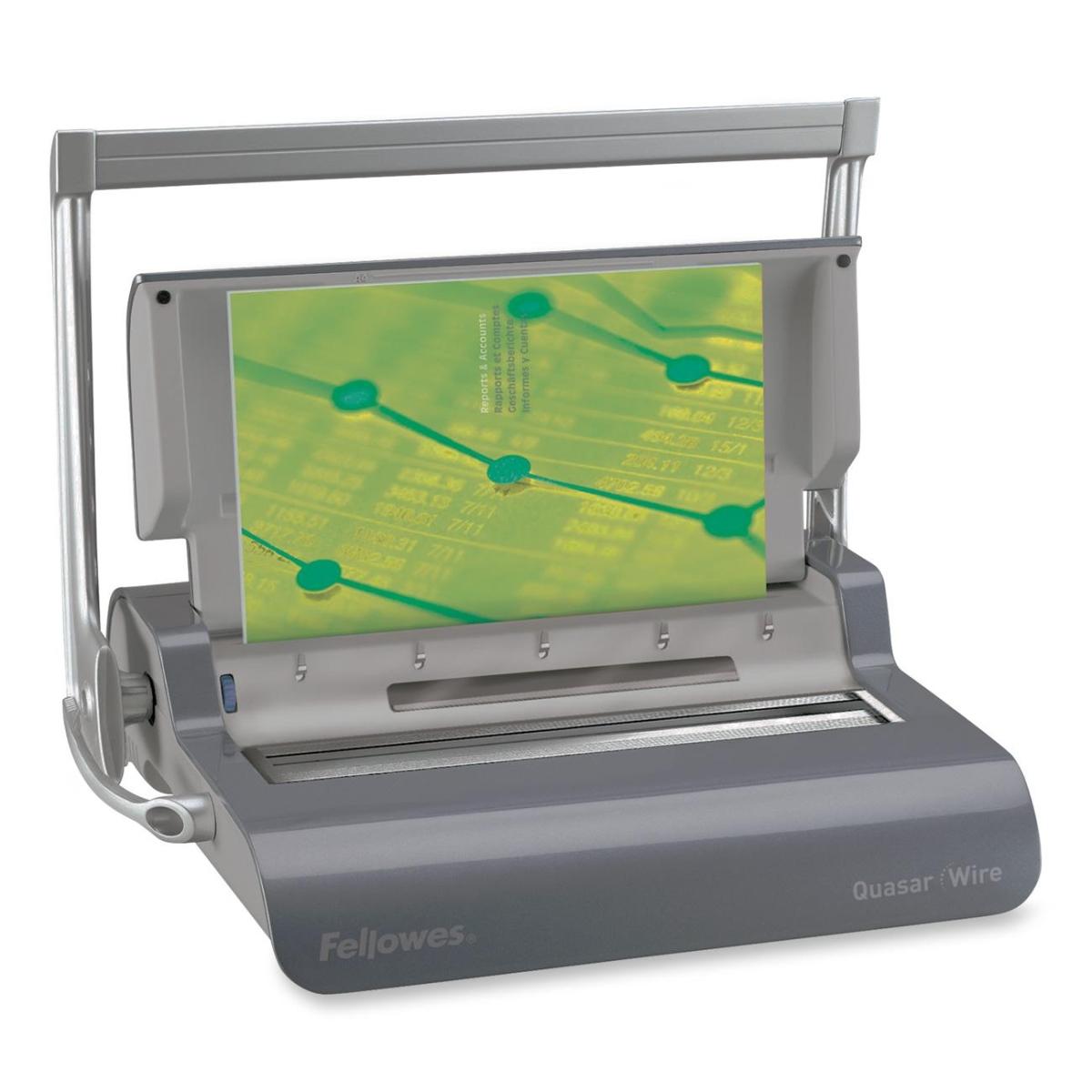 Quasar Manual Wire Binding Machine - WireBind - 130 Sheet(s) Bind - 15 Punch - 5.1 inch x 18.1 inch x 15.4 inch - Metallic Gray