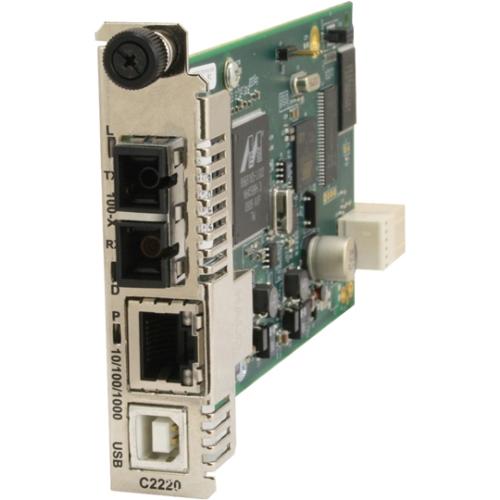 C2220 Series OAM/IP-Based Remotely Managed - Fiber media converter - GigE - 10Base-T 100Base-TX 1000Base-T 100Base-BX-U - RJ-45 / SC single-mode - up to 12.4 miles - 1550 (TX) / 1310 (RX) nm