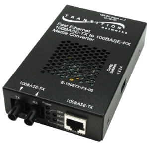 Networks E-100BTX-FX-05 Media Converter - 1 x Network (RJ-45) - 1 x ST Ports - 10/100Base-TX 100Base-FX - Rail-mountable Rack-mountable Wall Mountable