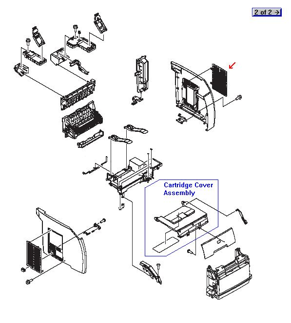 Memory access door - Provides access for changing or adding DIMM memory modules to the printer