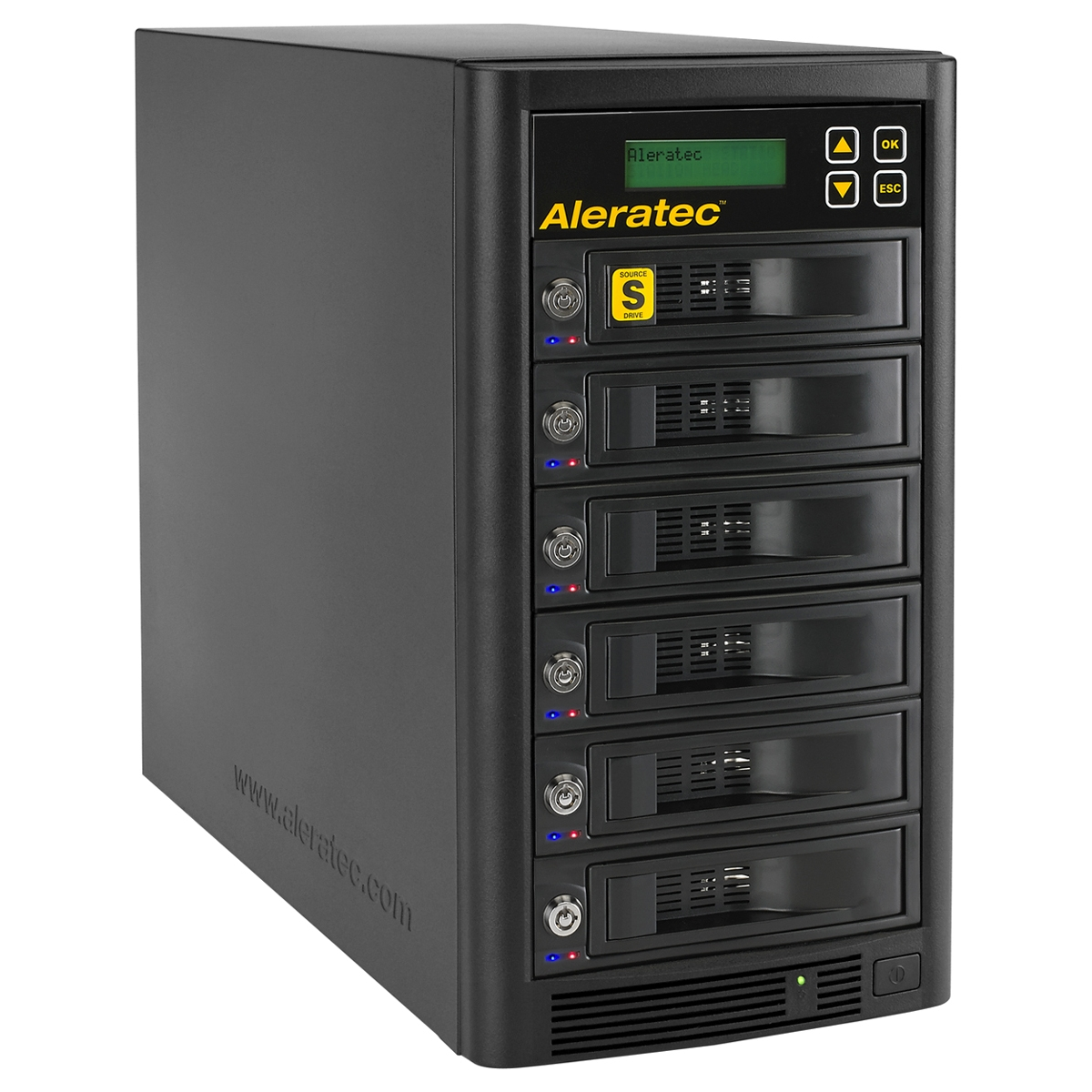 The Aleratec 1:5 HDD Copy Cruiser High-Speed is an industrial-strength standalone hard disk drive duplicator that can create five clone hard disk drives simultaneously at speeds up to a blazing 120MB/s. It can also securely wipe all the data from up to s
