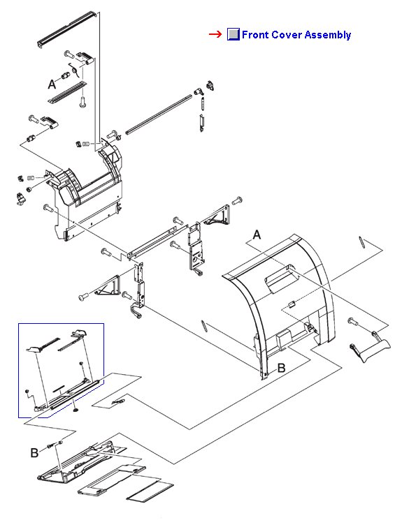 Front cover assembly - Front of printer including drop down MP/Tray 1 assembly