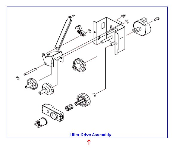 Lifter drive assembly - Includes the support bracket motor gears links and pulley - Raises and lowers the bottom of the paper tray assembly
