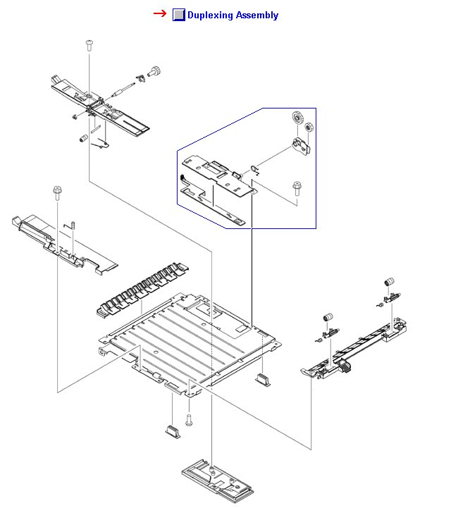 Duplexer assembly - Includes the paper guide plate output guide rollers and size change assembly - Slides in the opening on the lower rear of the printer