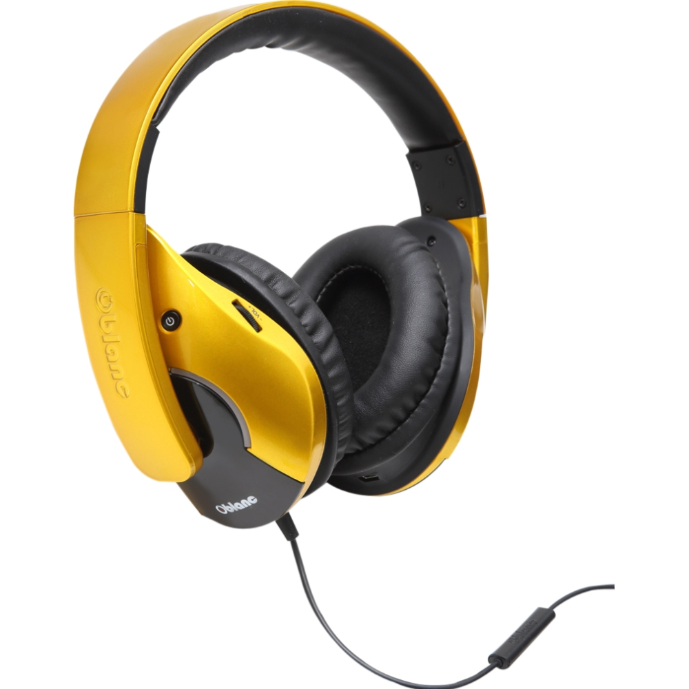 Multimedia Oblanc SHELL210 Saffron Yellow Subwoofer Headphone w/In-line Microphone - Stereo - Saffron Yellow - Mini-phone - Wired - 32 Ohm - 20 Hz - 20 kHz - Gold Plated - Over-the-head - Binaural - Circumaural - 5.17 ft Cable