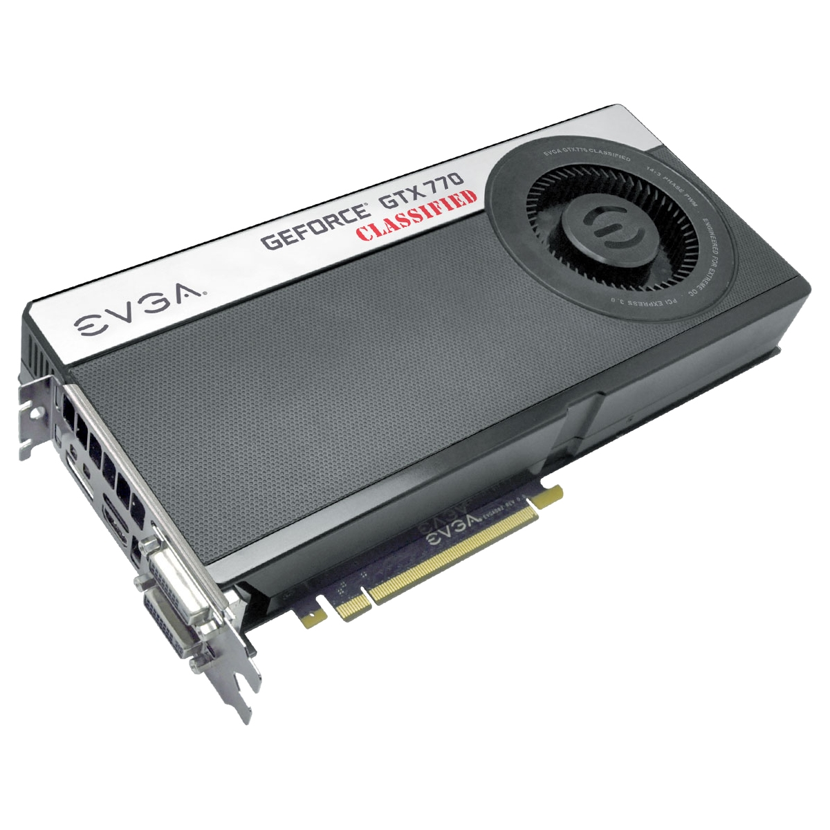 GeForce GTX 770 Graphic Card - 1046 MHz Core - 4 GB GDDR5 SDRAM - PCI Express 3.0 x16 - 7010 MHz Memory Clock - SLI - Fan Cooler - DirectX 11.1 OpenGL 4.3 OpenCL 1.2 DirectCompute 5.0 - HDMI - DisplayPort - DVI