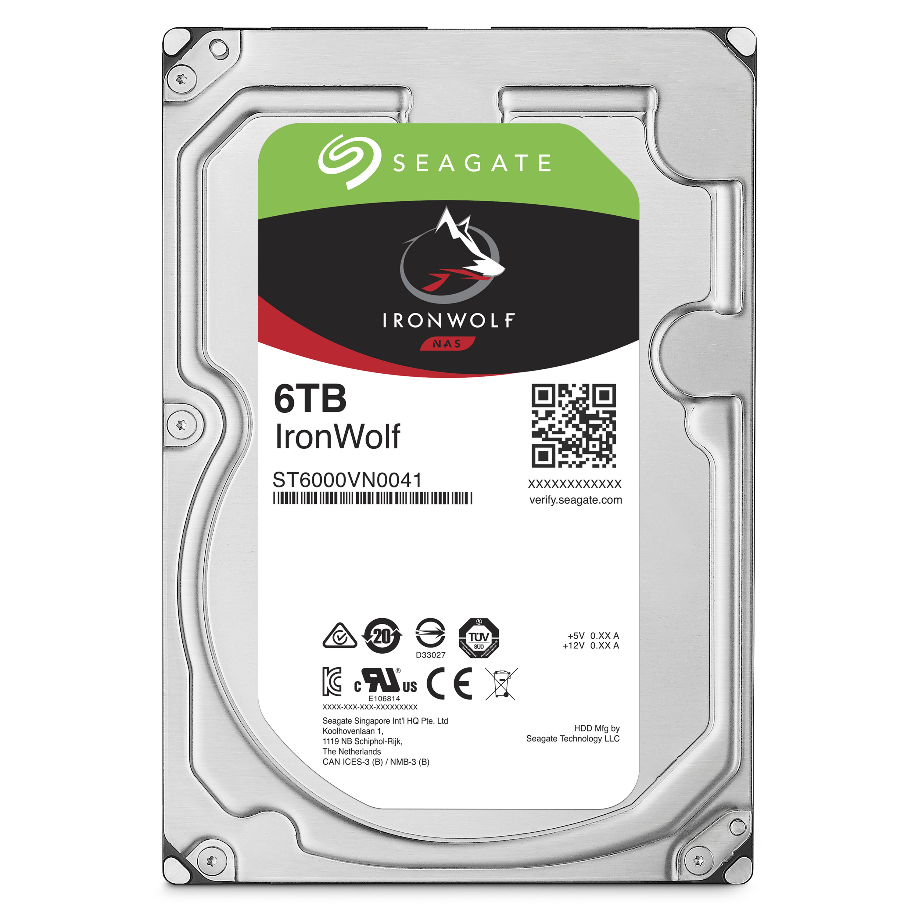IronWolf - Hard drive - 6 TB - internal - 3.5 inch - SATA 6Gb/s - 7200 rpm - buffer: 128 MB