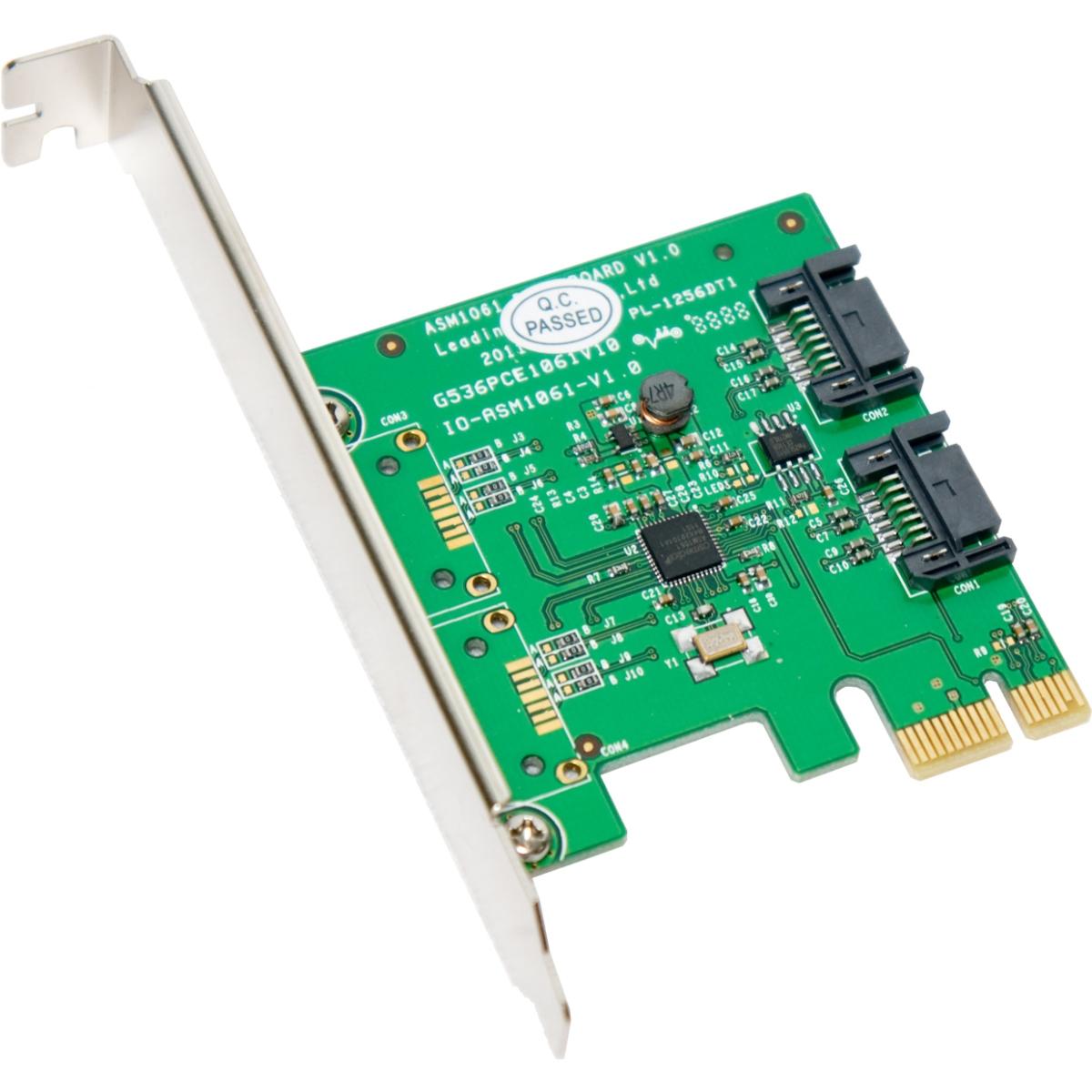 Multimedia SATA III 2 Internal 6Gbps Ports PCI-e Controller Card - 2 Serial ATA/600 Serial ATA Internal - PCI Express 2.0 x1