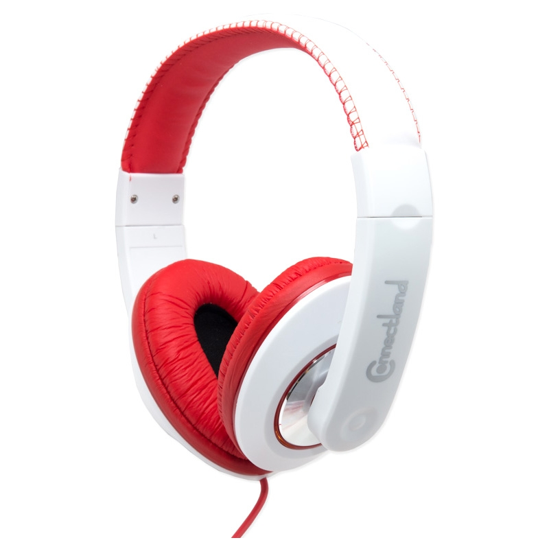 Multimedia Binaural Design Red / White Headset - 40mm Speaker at 20Hz - 20kHz Over Head On Ear