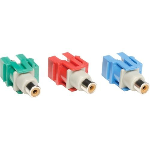 Lite Component Video Keystone Snap-In Module Kit ( R G B ) - 3 Pack - 1 x RCA Female Component Video - 1 x RCA Female Component Video - Red Green Blue