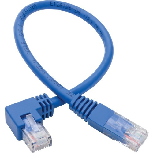 Cat6 Patch Cable Right-Angled RJ45 UTP Gbe Molded M/M Blue 1ft - Patch cable - RJ-45 (M) to RJ-45 (M) right-angled - 1 ft - UTP - CAT 5e/6 - molded - blue