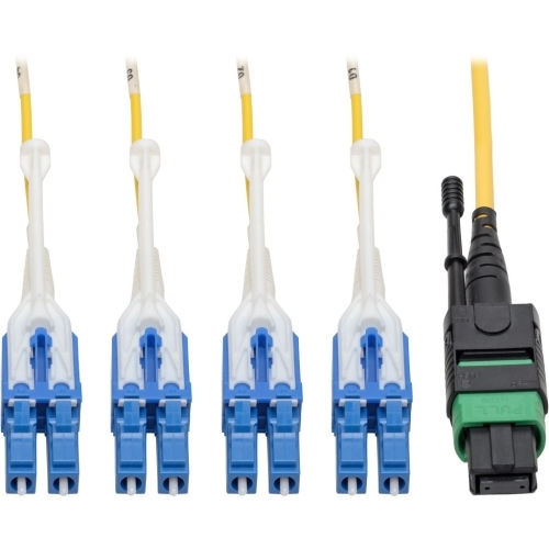 MTP/MPO (APC) to 8xLC (UPC) Singlemode Breakout Patch Cable 40/100 GbE QSFP+ 40GBASE-PLR4 Plenum Yellow 3 m (10 ft.) - Patch cable - MTP/MPO single-mode (F) to LC/UPC single-mode (M) - 3 m - fiber optic - 8.3 / 125 micron - plenum stranded - yellow