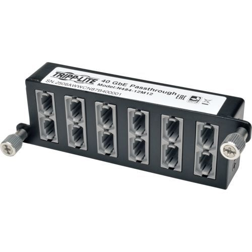 40Gb High Density Pass-Through Cassette 12 12-Fiber MTP/MPO - Fiber optic cassette - MTP/MPO X 12 - black