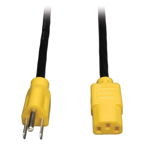 Lite Standard Computer Power Cord - 10A18AWG (NEMA 5-15P to IEC-320-C13 with Yellow Plugs) 4-ft.