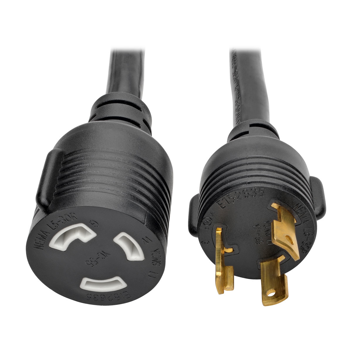 Heavy-Duty Power Extension Cord 30A 10 AWG (NEMA L5-30P to NEMA L5-30R)  Locking Connectors 15 ft. - Power extension cable - NEMA L5-30 (P) to NEMA L5-30 - 125 V - 30 A - 15 ft - molded - black