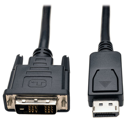 10ft DisplayPort to DVI Cable / DP to DVI Adapter Latches to DVI-D Single Link M/M 10 - DVI cable - single link - DisplayPort (M) to DVI-D (M) - 10 ft - molded - black