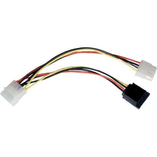 6in Serial ATA SATA Power Adapter 4Pin / 4Pin + 15Pin SATA 6 inch - Power adapter - 4 pin internal power 15 pin SATA power (F) to 4 pin internal power (M) - 6 in