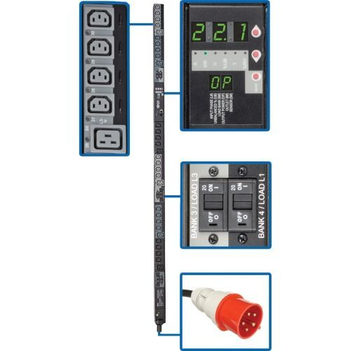PDU 3-Phase Switched 220V/230V 22.1kW C13 C19 IEC309 32A Red 0U - Vertical rackmount - power distribution unit (rack-mountable) - 32 A - AC 380/400 V - 22.1 kW - 3-phase - Ethernet 10/100 - input: IEC 60309 32A - output connectors: 30 - 0U
