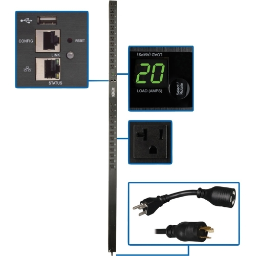 1.9kW Single-Phase Monitored PDU with LX Platform Interface 120V Outlets (24 5-15/20R)  0U Vertical 70 in. TAA - Power distribution unit (rack-mountable) - 20 A - AC 100/120/127 V - 1.9 kW - 1-phase - Ethernet 10/100 - input: NEMA 5-20P - output conne