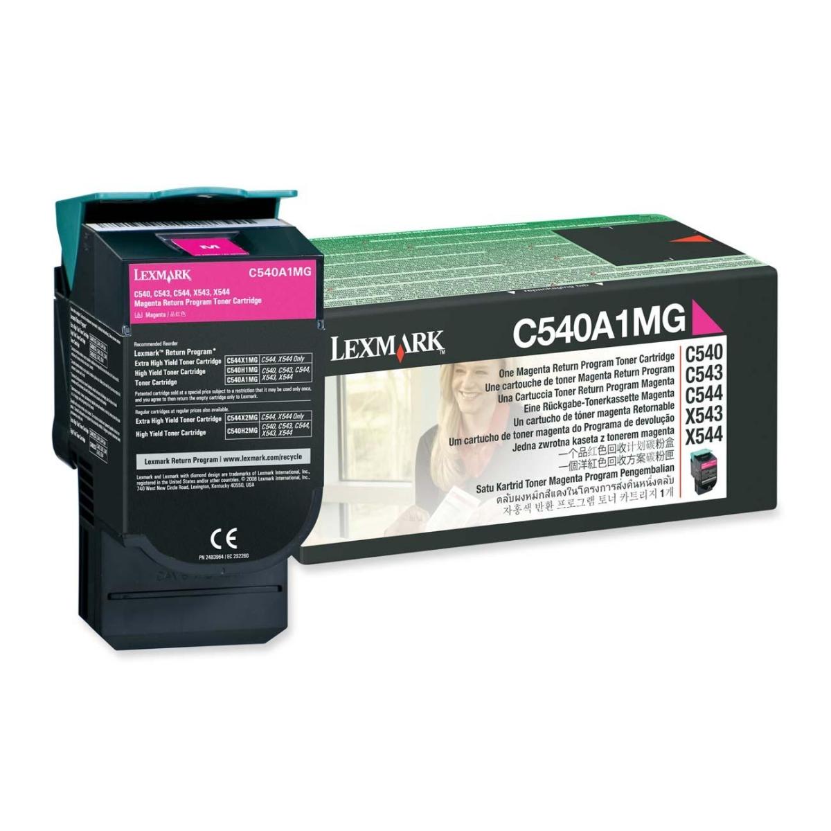Magenta - original - toner cartridge LCCP LRP - for Lexmark C540 C543 C544 C546 X543 X544 X546 X548