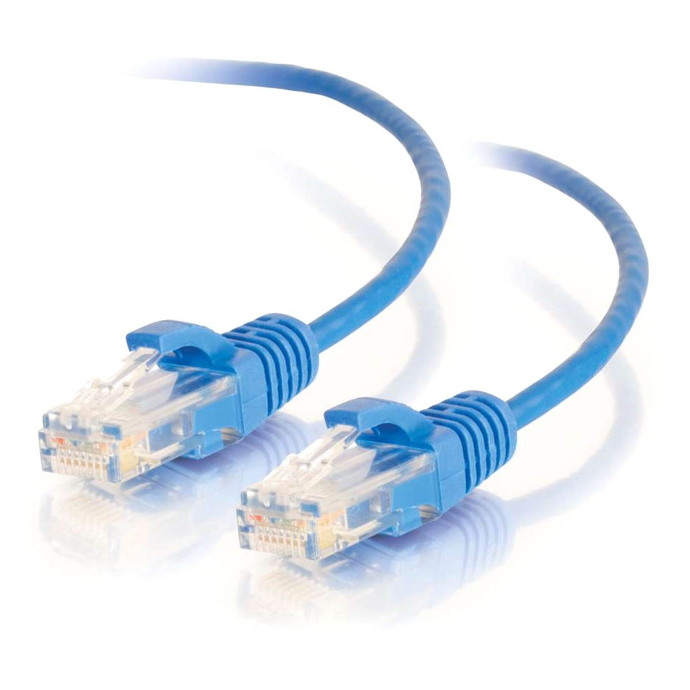 1.5ft Cat6 Snagless Unshielded (UTP) Slim Ethernet Network Patch Cable - Blue - Patch cable - RJ-45 (M) to RJ-45 (M) - 1.5 ft - UTP - CAT 6 - molded snagless - blue