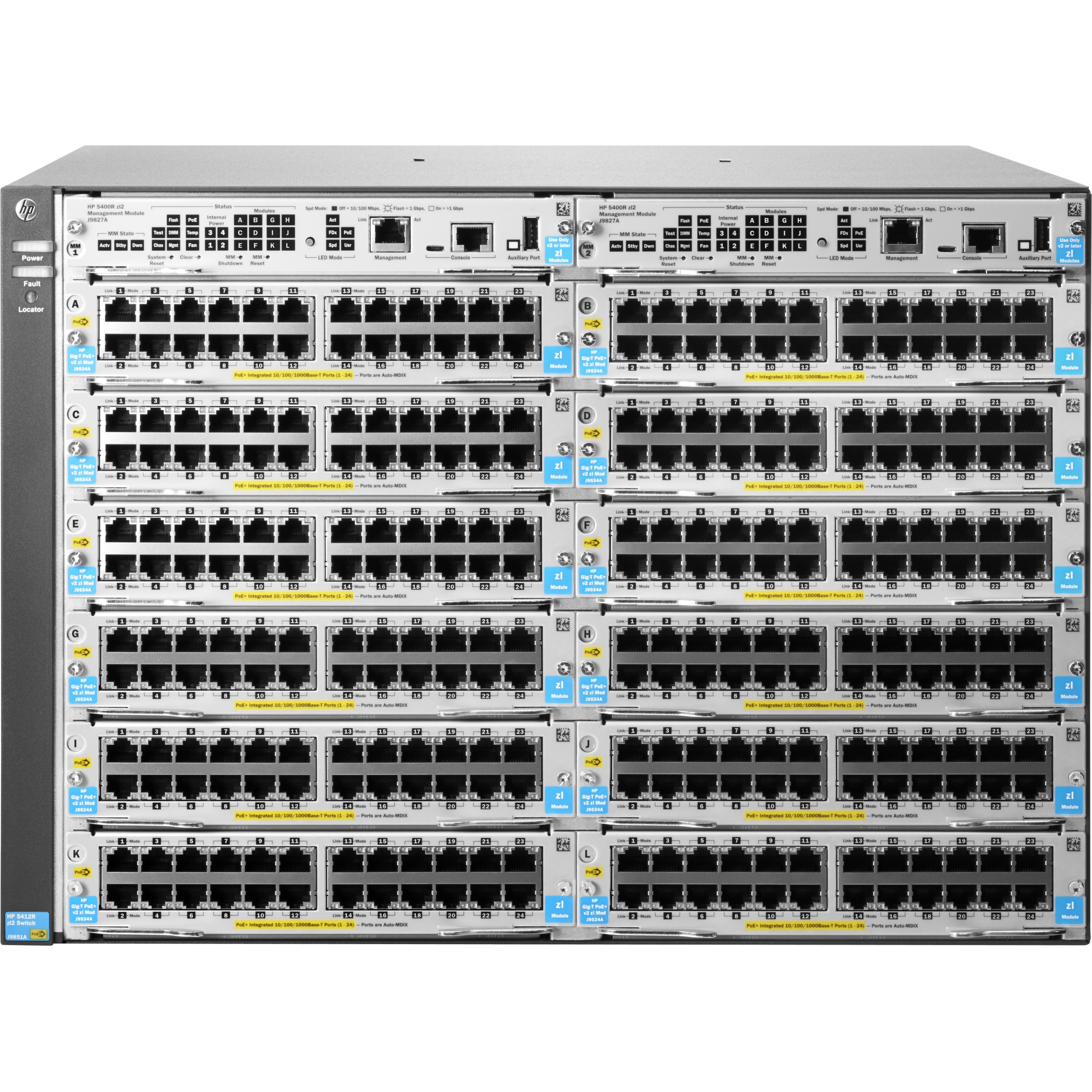 5412R zl2 Switch - Manageable - 12 x Expansion Slots - Modular - 3 Layer Supported - Redundant Power Supply - 7U High - Rack-mountableLifetime Limited Warranty