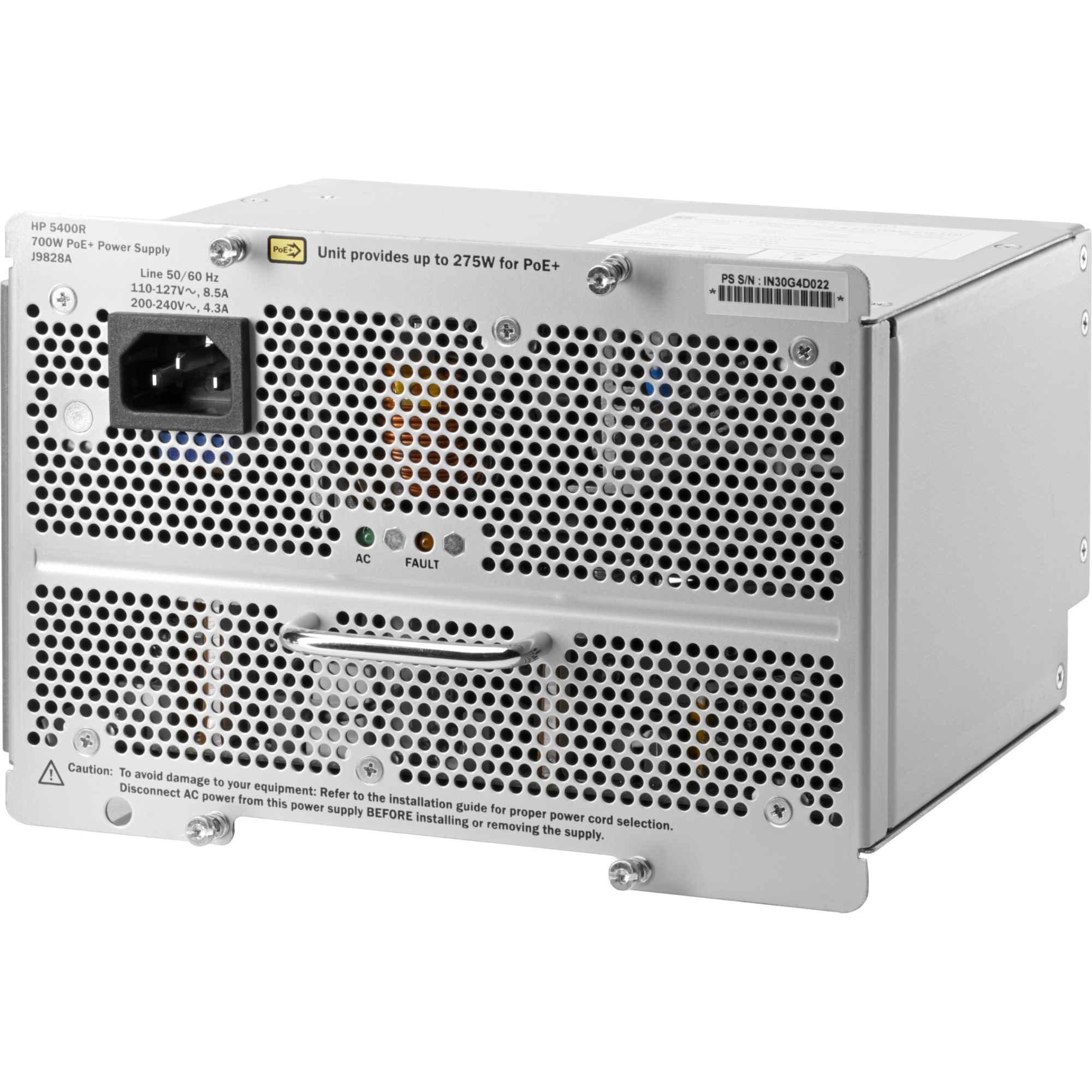 5400R zl2 700W POE+ AC power supply - Installs in the switch chassis as primary or redundant supply for load sharing or POE power (up to 275W) - Requires 100-127VAC or 200-240VAC at 50-60Hz - Recommended to use the same model power supplies in a system
