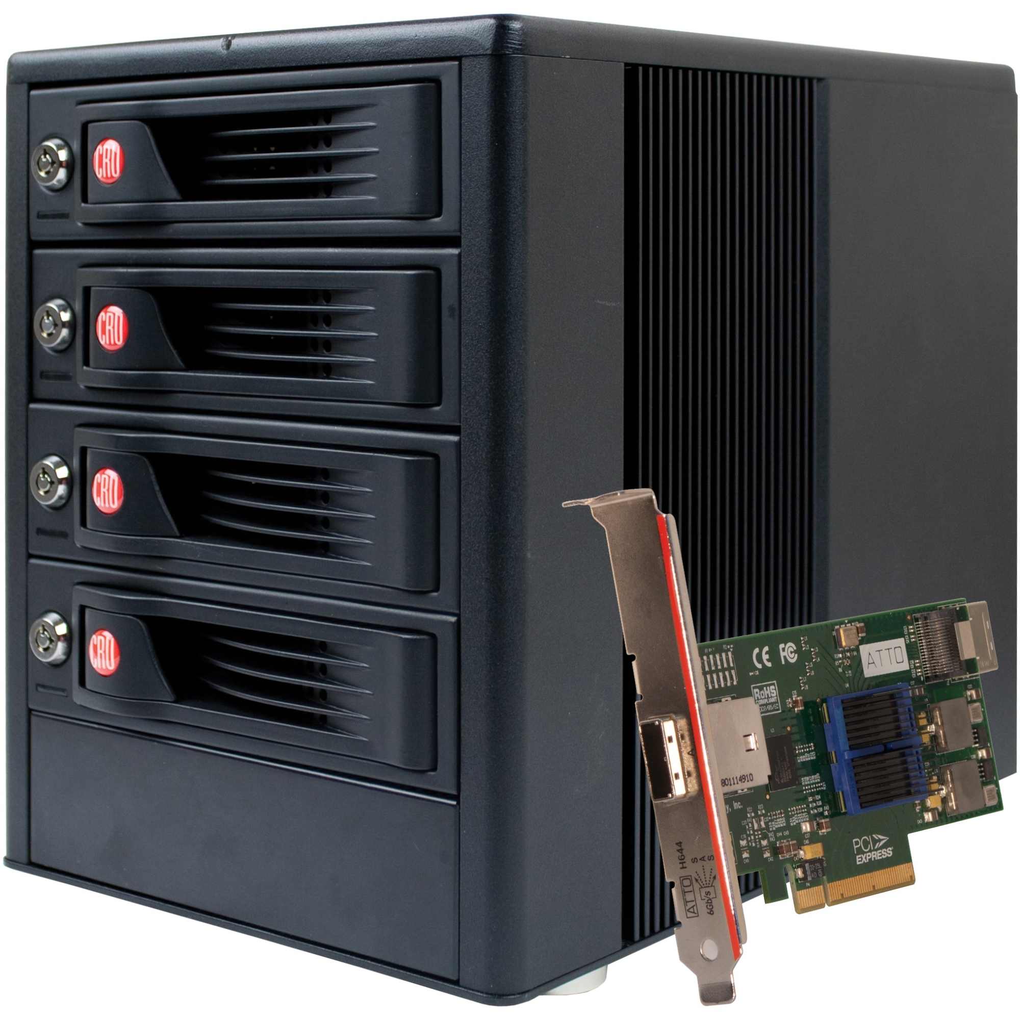 WiebeTech RTX RTX410-XJ Drive Enclosure Tower - 4 x HDD Supported - Serial ATA/600 Controller - 4 x Total Bay - 4 x 3.5 inch Bay - Mini-SAS - Cooling Fan