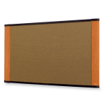 Wide-screen Style Bulletin Board - 48 inch Height x 72 inch Width - Cherry Cork Surface - Wood Frame