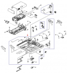 ADF base cover assembly - Includes the large bottom rectangular support cover for the ADF assembly with front and rear tray guides, the ADF intermediate PC board, cables, sensors, and hinges