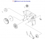 Feed drive assembly - Six gears mounted on a plate on right side of 500 sheet paper feeder assembly