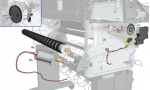 Media-axis motor - Drives the drive roller assembly - Includes the media advance drive mount and cable - For 42-inch plotters