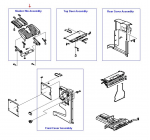 Stacker output bin - Job stacker and upper output tray for the multifunction finisher assembly