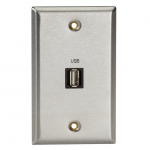 Box A/V Stainless Wallplate Single-Gang (1) USB Type A F Feed-Through Coupler - 1-gang - Stainless