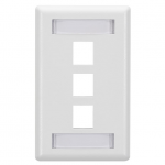 Box GigaStation2 3 Socket Network Faceplate - 3 x Socket(s) - White