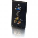 Single Gang HD15 VGA + 3.5mm + Composite Video + Stereo Audio Wall Plate - Black - 1-gang - Black