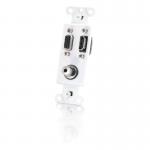 Decora Style HDMI HD15 VGA 3.5mm Wall Plate Insert - White - White - 1 x HDMI Port(s) - 1 x Mini-phone Port(s) - 1 x VGA Port(s)