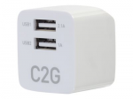 2-Port USB Wall Charger - AC to USB Adapter - 5V 2.1A Output - Power adapter - 2.1 A - 2 output connectors (2 x USB) - white
