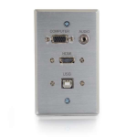 RAPIDRUN HDMI SINGLE GANG WALL PLATE WITH VGA STEREO AUDIO AND USB-ALUMINUM