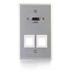 HDMI Pass Through Single Gang Wall Plate with two Keystones - Mounting plate - HDMI - aluminum - 1-gang
