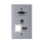 RAPIDRUN HDMI VGA AND STEREO AUDIO WITH ONE KEYSTONE SINGLE GANG WALL PLATE