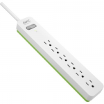 Essential Surgearrest - Surge protector - AC 120 V - output connectors: 6 - 6 ft - white green