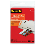 Scotch Thermal Laminating Pouch - 4 inch Width x 6 inch LengthPhoto-safe - 20 / Pack - Clear