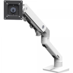 HX Desk Monitor Arm - Mounting kit (articulating arm desk clamp mount grommet mount pivot mounting hardware extension part) for monitor - white - screen size: up to 42 inch - desktop