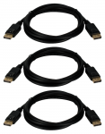 3PK 6FT DISPLAYPORT DIGITAL A/V ULTRAHD 4K BLACK CABLE WITH LATCHES