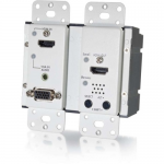 HDMI and VGA + Stereo Audio HDBaseT over Cat5 Extender Wall Plate Transmitter - White - 2 Input Device - 230 ft Range - 1 x Network (RJ-45) - 1 x HDMI In - 1 x VGA In - Wall Mountable